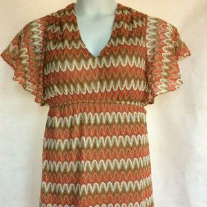 Judith March Coral Tan and White Dress Size Medium